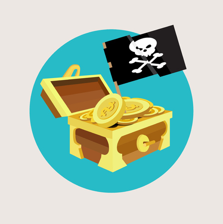 treasure chest with golden coins and pirate flat icon design Vector