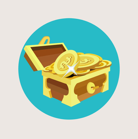 treasure chest with golden coins flat icon design Vector