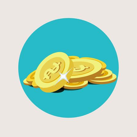 golden coins pile flat icon design