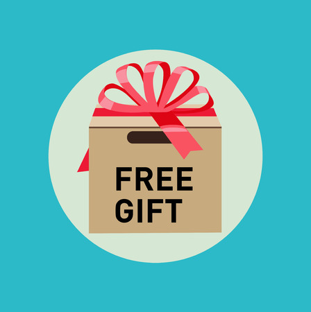free gift: cardboard box with free gift sign flat design