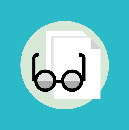 polarized: glasses and sheet of paper flat icon design