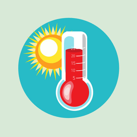 thermometer and sun flat design vector  Vector