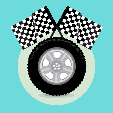 racing wings: car tire with race flags flat icon design