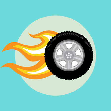 car tire with flame flat icon design Vector