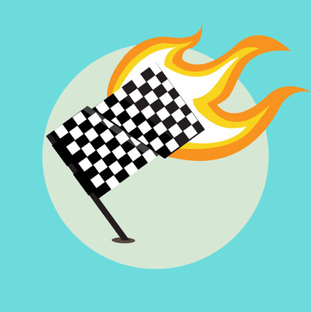 right side: race flag with flame from the right side flat design