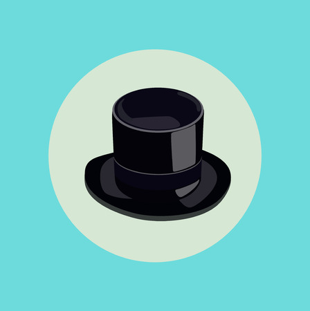 requisite: magician hat flat icon design vector Illustration