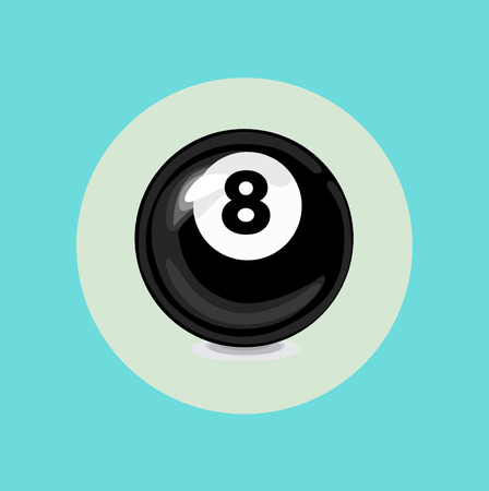 eight billiard black ball flat vector design Vector