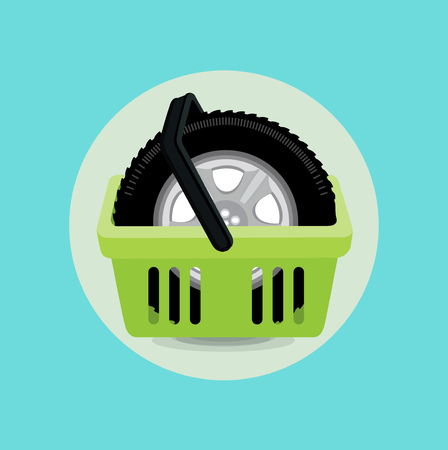 car tire: car tire and shopping basket flat icon design