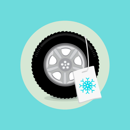 snow tire: car wheeltire with winter sign flat design vector Illustration
