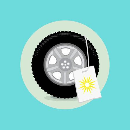 summer tires: rueda de coche  neum�tico con signo verano icono plana de dise�o