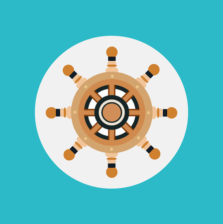 boat wheel flat icon design vector