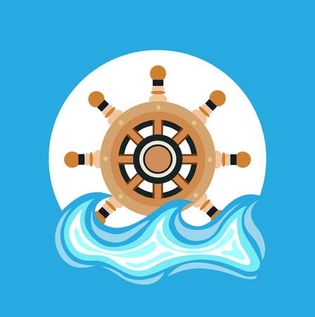 ship wheel and sea element flat icon design Vector