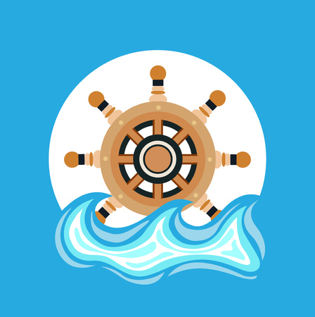 ship wheel and sea element flat icon design