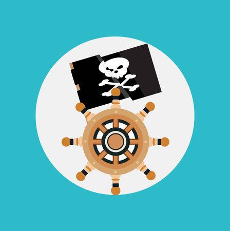 seasoned: pirate flag and boat wheel flat design vector Illustration