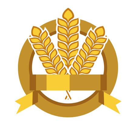 winter wheat: grains in badge vector flat design icon