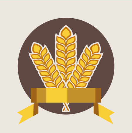 winter wheat: grains and golden ribbon quality badge flat design icon
