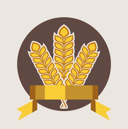 bran: grains and golden ribbon quality badge flat design icon