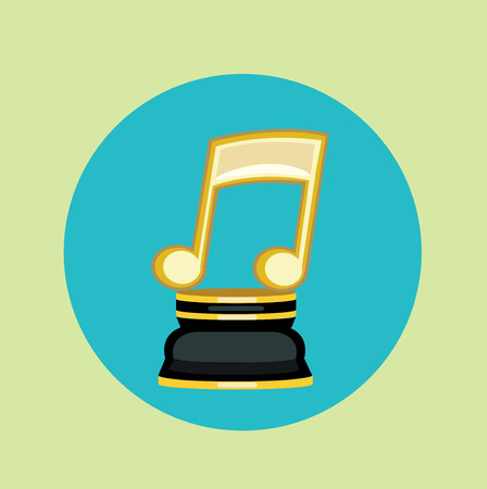 golden music note trophy flat design vector icon