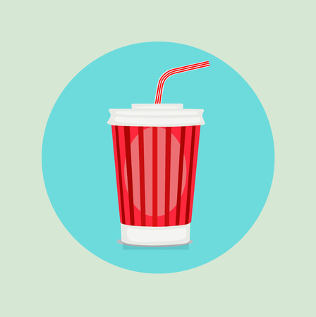 plastic straw: cola plastic glass with straw flat design icon