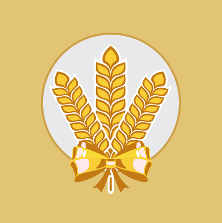 winter wheat: grains and golden ribbon flat design icon vector