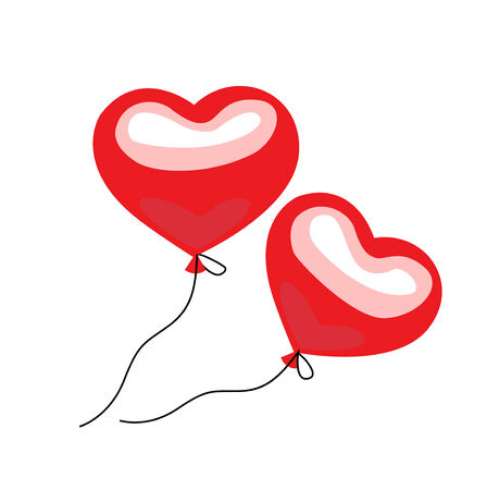 two floating balloon hearts flat design on white background