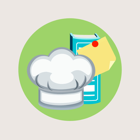 vector chef hat and cooking book icon flat design icon Vector