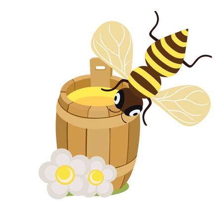 organic fluid: honey bee and honey barrel with flowers on white flat design icon Illustration