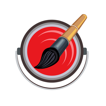 paint brush with red color bucket on white flat design vector