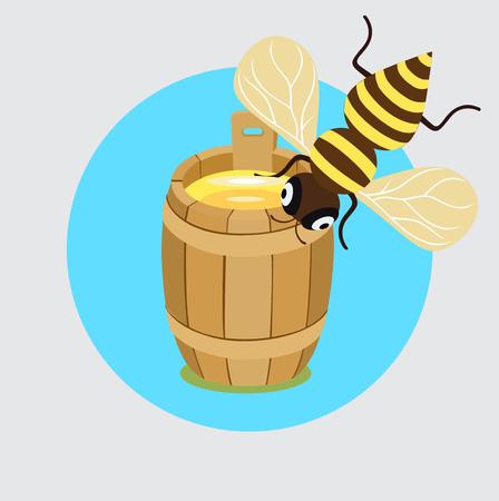 honey bee and honey barrel flat design icon