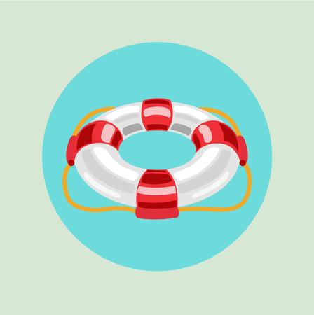 single lifebuoy flat design vector icon  Иллюстрация