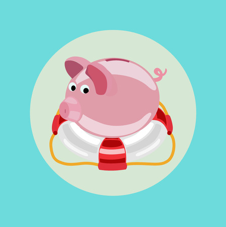 financial emergency: lifebuoy and piggy bank vector icon flat design icon Illustration