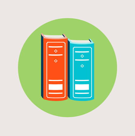 two vector books icon flat design vector