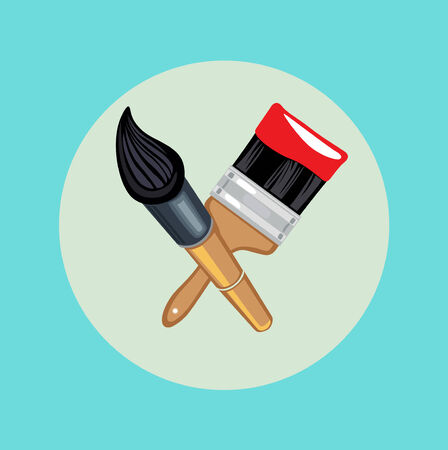 two crossed brushes flat design icon