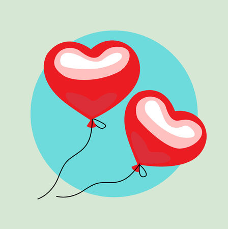 two floating balloon hearts flat design vector icon