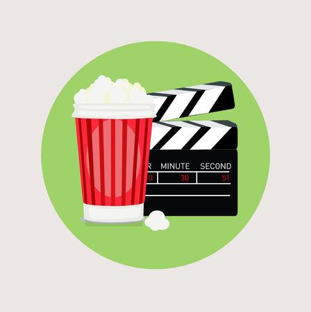 popcorn and movie clapper flat design vector icon Иллюстрация