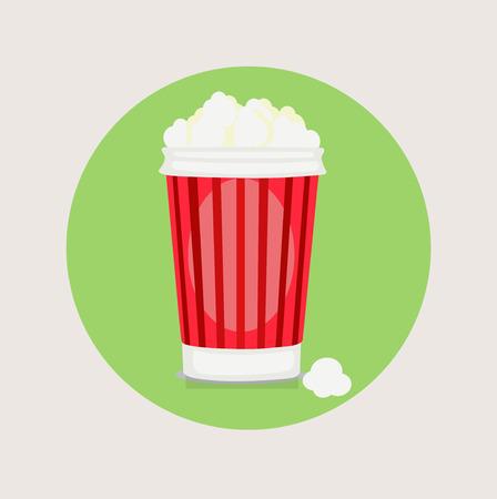 popcorn bucket flat design vector icon