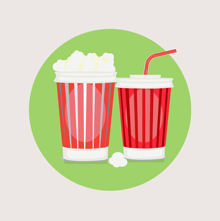 popcorn and cola flat design vector icon
