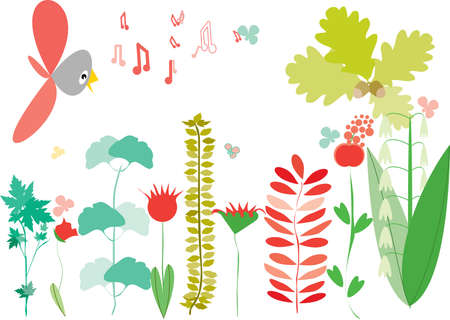 stylized background with bird branches and flowers Stock Vector - 4005720