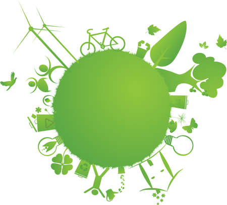 protect the Earth : vector illustration of environmental elements and logo Illustration