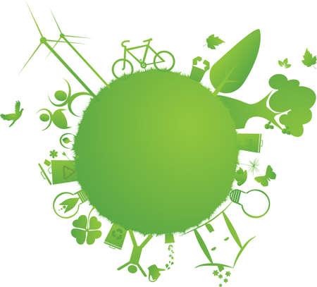 protect the Earth : vector illustration of environmental elements and logo Illusztráció