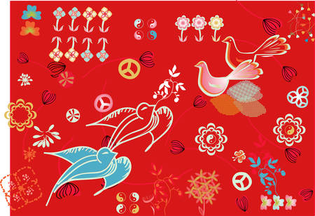 abstract decorative painting with design elements Illustration