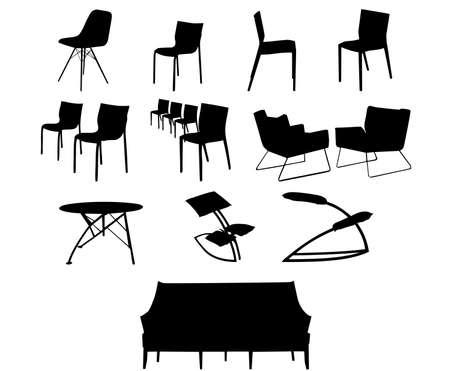 sillas y sofá Ilustración de vector