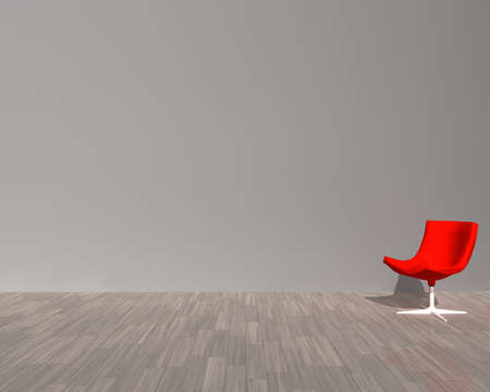 computer drawing - interior with sixites red modern chair Stock Photo - 4220367