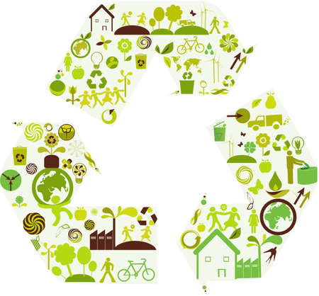 recycling arrows filles with ecology and design elements