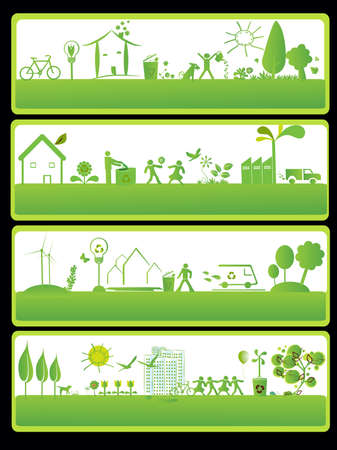 four eco frame with ecology elements Stock Vector - 4421167