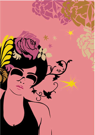 sexy pictures: pink card with a crazy woman surrended by flowers Illustration