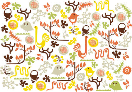 vector - background with graphic animals Vector