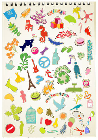 workbook: stickers collection on a workbook page background