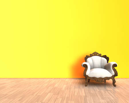 3d render - old chair in a yellow interior