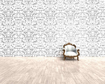 3D render - old chair and nice wallpaper Stock Photo